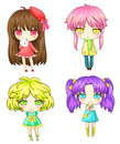 Sets japanese sd girl gang various characteristic create vector Stock Photos