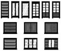 Sets of silhouette cabinets create by vector Royalty Free Stock Photos