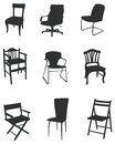 Sets of silhouette chair Stock Images