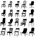 Sets of silhouette chair furniture create by vector Stock Images