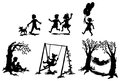 Sets of silhouette children in relaxation vector create by Stock Images