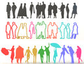 Sets of silhouette and colorful people in d various characteristic create by Stock Photography