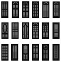 Sets of silhouette doors create by vector in different vintage style Royalty Free Stock Photo