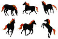 Sets of silhouette fire horses create by vector in various actions Stock Photo