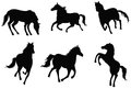 Sets of silhouette horses create by in various actions Stock Photos