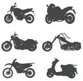 Sets of silhouette motorcycles, create by vector Stock Image
