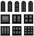 Sets of silhouette windows create by vector in vintage style Stock Photo
