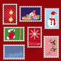 Sets of winter Christmas stamp postage Stock Image