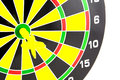Setting goal or accurate planning hand going to take dart into the center of dartboard Stock Image