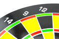 Setting goal or accurate planning hand going to take dart into the center of dartboard Stock Photography