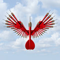 Setting goals business concept and opportunity freedom symbol with a group of red darts in the shape of open bird wings as an icon Royalty Free Stock Image