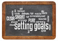 Setting goals word cloud on blackboard of words or tags related to and smart pure and clear methods a vintage slate isolated white Royalty Free Stock Photos