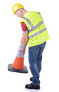 Setting out traffic cone construction worker a isolated on white Stock Image