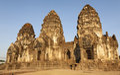 Setting Sun Light on Phra Prang Sam Yord Royalty Free Stock Images