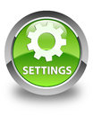 Settings glossy green round button