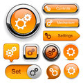 Settings high-detailed web button collection. Stock Image