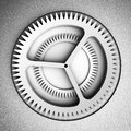 Settings icon gears on a leather gray background hi res digitally generated image Stock Photo