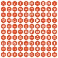 100 settings icons hexagon orange