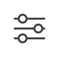 Settings sliders line simple icon Royalty Free Stock Photo