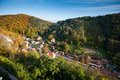 Settlement among the forest village in middle of natural landscape Royalty Free Stock Image
