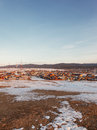 Settlement huzhir on island olkhon in lake baikal Royalty Free Stock Photo