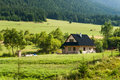 Settlement in the valley with trees under hill slovakia Royalty Free Stock Photos