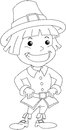 Settler Boy For Thanksgiving Coloring Page Stock Photography