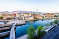 Seujet dam on Rhone river, Geneva, Switzerland Royalty Free Stock Photo
