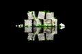 Seven blocks of feta cheese on black Royalty Free Stock Photo