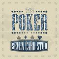 Seven card stud poker game retro background for vintage design can be used as poster tournament or pc desktop Stock Photography
