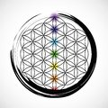 Seven chakras and flower of life