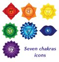 Seven chakras icons, colorful spiritual tattoos. Kundalini yoga symbols