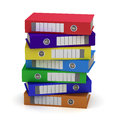 Seven Colorful File Folders Stock Image
