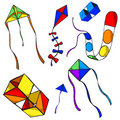 Seven colorful kites Royalty Free Stock Photos