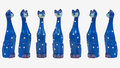 Seven Comical Tall Blue Cats Royalty Free Stock Photo