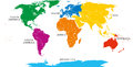 Seven continents map with national borders Royalty Free Stock Photo