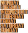 Seven days of week from monday to sunday in isolated vintage letterpress wood type printing blocks Royalty Free Stock Photo