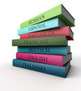 Seven dictionaries each other italian french spanish portugu portuguese russian german and english Stock Image