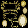Seven frames golden color Royalty Free Stock Photo