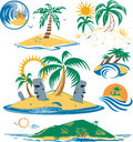 Seven islands cartoon art of different tropical Royalty Free Stock Image