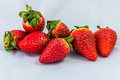 Seven lucky strawberies Royalty Free Stock Photo