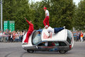 Seven members from stuntmen team avtorodeo togliatti trick moscow jun go by car on two wheels at speedfest at olympic complex Stock Image