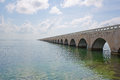 Seven mile bridge famous part of the overseas highway in the florida keys viewed at wide angle Stock Image