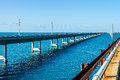 The seven mile bridge keys floride historic was built by henry flagler as part of overseas railroad to key west new Stock Image