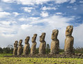 Seven moais of Easter Island Royalty Free Stock Photo