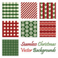 Seven seamless christmas vector backgrounds on white Royalty Free Stock Photo