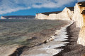 Seven sisters clifs england uk chalk on english chanel coast east sussex Royalty Free Stock Image