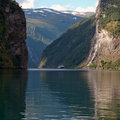 Seven sisters waterfall at Geiranger fjord Royalty Free Stock Images