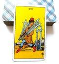 7 Seven of Swords Tarot Card Logic Reason Ahead of the Posse Adaptability Flexibility Plotting & Planning Strategies Royalty Free Stock Photo