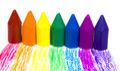 Seven wax crayons Royalty Free Stock Photo
